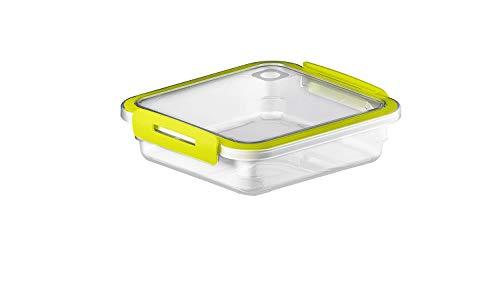 Rotho Memory kleine Frischhaltedose 0,56l mit Deckel, Kunststoff (PP) BPA-frei, transparent/grün, 0,56l (16,0 x 15,0 x 4,7 cm)