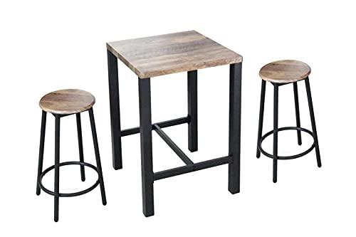 Morgan Set Tavolo Bar con 2 Sgabelli, Tavolo Alto con Sgabello Alto, Tavolo 60x60x87 cm con Sedie in Metallo 30x63 cm, Piano e Seduta in Legno Naturale (Nero)