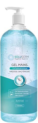 Gel hydroalcoolique – Bouteille de 1 litre de gel virucide – Fabrication Française – Norme Européenne EN14476