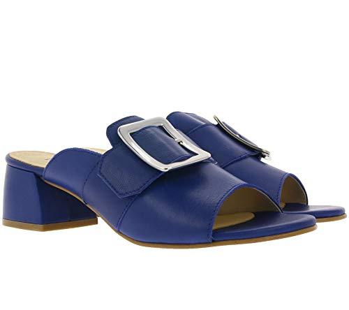Heine Pantolette modische Damen Sandalette mit Blockabsatz Freizeit-Pantolette Party-Schuhe Blau, Größe:35