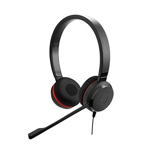 Jabra Evolve 20 SE Stereo Headset – Microsoft zertifizierte Kopfhörer für VoIP Softphone mit passivem Noise-Cancelling – USB-Kabel mit Anrufsteuerung – Schwarz