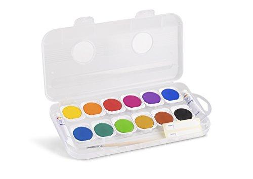 Primo Tuschkasten für Kinder | 12 Deckfarben inkl. 1 Pinsel und 2 Deckweiss-Tuben | Wasserfarben-Set zum Malen und Tuschen