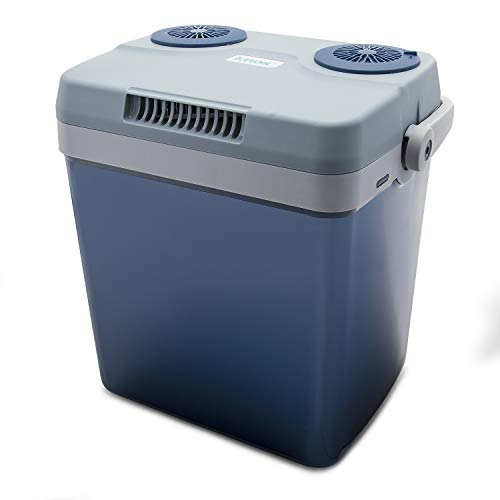 Knox Electric Cooler and Warmer for Car and Home with Automatic Locking Handle - 27 Quart (25 Liter) – Holds 30 Cans - Dual 110V AC House and 12V DC Vehicle Plugs