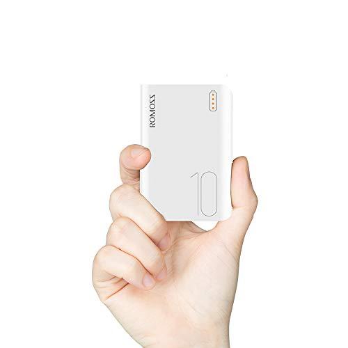 Romoss Power Bank 10000mah Pequeño, Bateria Externa para Movil 2 Entrada Micro USB Tipo c, 2 Salidas USB 2,1A para la Mayoría de los Smartphone
