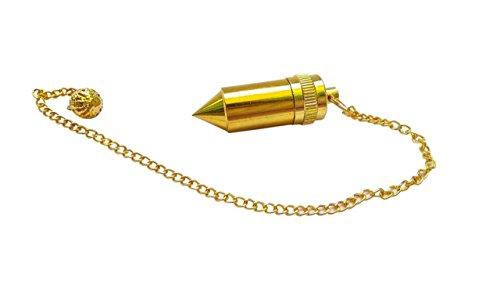 WholesaleGemShop Brass Double Bullet Chamber Metal Healing Pendulum, Healing Wellness Dowsing.