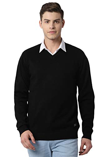 Peter England Men's Synthetic Sweater (PCSWCRGF301069_Black_L)