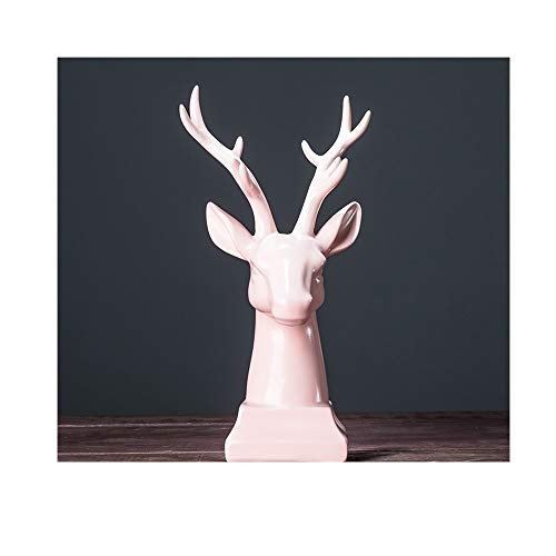 AJLNSL Escultura Decoración para El Dinero Decoración De La Cabeza De Ciervo del Norte De Europa Y Europa Nueva Sala De Estar China Licor Gabinete Decoración Creativa De Oficinarosa Estatuas