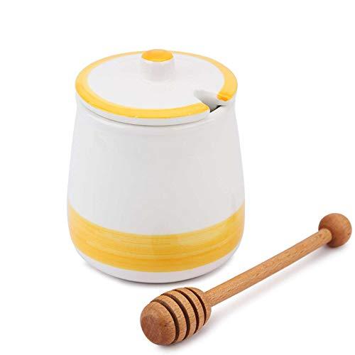 Chase Chic Honigtöpfe Keramik-Honigtopf 450ml (15.5oz) mit Holzlöffel und Deckel für die Wohnküche, von Honig und Sirup, Porzellan-Honigbehälter zur Aufbewahrung (gelb)