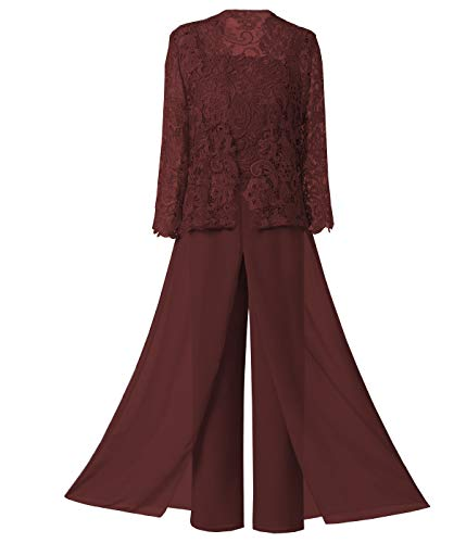 Sexy Women's 3 Pieces Chiffon Mother of Bride Dress Pant Suits with Long Sleeves Appliques Lace Pleat Jacket for Weddinng(2,Burgundy