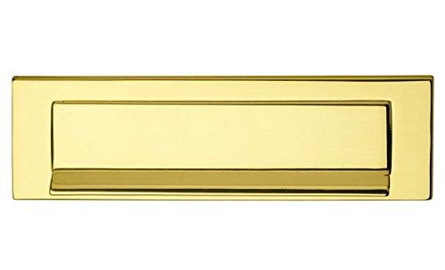 Zeitungsklappe Messing poliert Postschlitz 5005 Briefeinwurf-Klappe Antik für Haustüren & Wohnungseingangstüren   Tür Einwurfklappe aus echt Messing   257 x 74 mm   1 Stück - Abdeckung für Außen