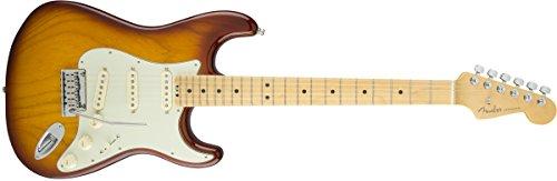 Fender 0114002700E-Gitarre, American Elite Stratocaster, mit Griffbrett aus Ahorn – Aged White Blonde Volle Größe tobacco sunburst