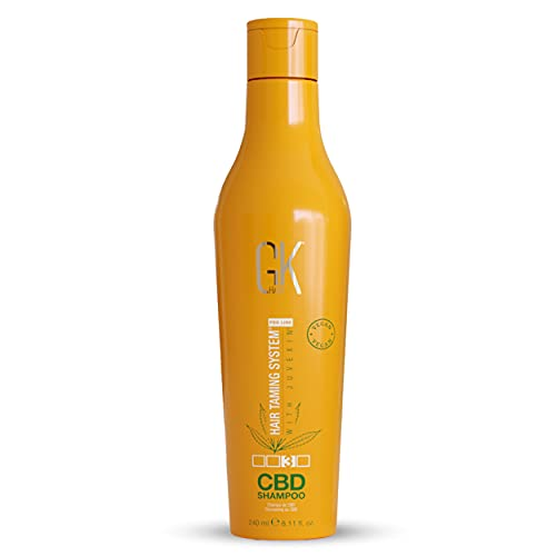 GK HAIR Global Keratin Hemp Shampoo (240ml) Hidratante, fortalecedor, con tratamiento de color, reparador de daños, nutritivo y con brillo infundido con sulfato orgánico vegano libre de parabenos