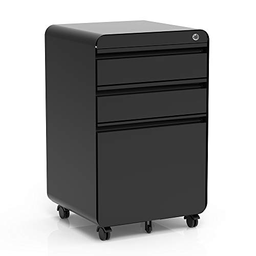 Dripex Fully Assembled 3-Drawer Mobile File Cabinet for A4 File, Lockable Metal Filling File Cabinet with Hanging File Frame and Anti-tilt Design Office Rolling Vertical File Cabinet