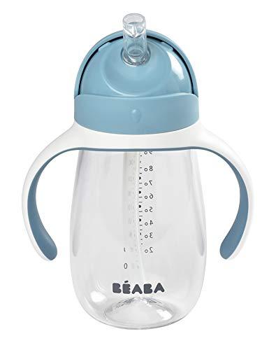 BÉABA - Biberon/Tazza di Apprendimento 2 in 1, Tazza con cannuccia per Bambini, 100% a Tenuta, Salvagoccia, Facile da aprire, Manici Removibili, Tritan e Silicone, 300 ml, Blu