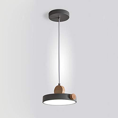 CHENJUNAMZ Cálida luz Verde Blanco Gris de Hierro Lámpara de acrílico Comedor Sala de Estudio Dormitorio Moderno Simple (Color : Gris)