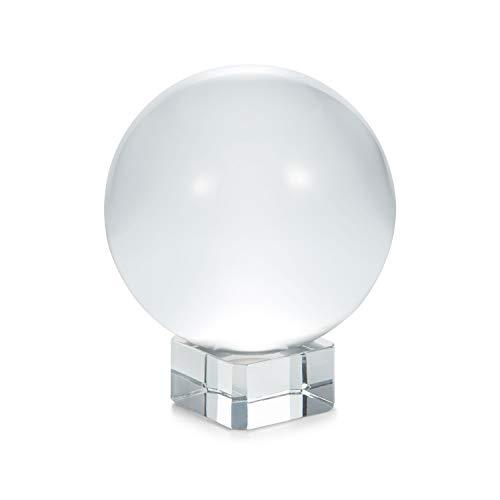 Supremery Glaskugel Fotografie Kugel aus K9 Glas - Fotokugel mit Ständer - Kristallkugel Klare Kristall Deko mit Glasständer - Ø 100mm