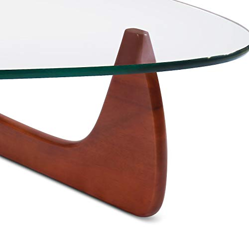 Rimdoc Triangle Glass Coffee Table,Vintage Glass and Wood Table, Solid Wood Base and Triangle Clear Glass Top Modern Table for Living Room,Patio (Cherry)