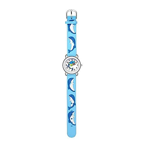 CXJC 3D Cartoon-Delphin-Musterquarz-Uhr, Sportuhr für Elementar- und Mittelschüler, 3ATM wasserdicht (Color : EIN)