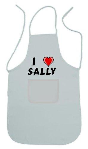 Personalisierte weiße Schürze mit Aufschrift Ich liebe Sally (Vorname/Zuname/Spitzname)