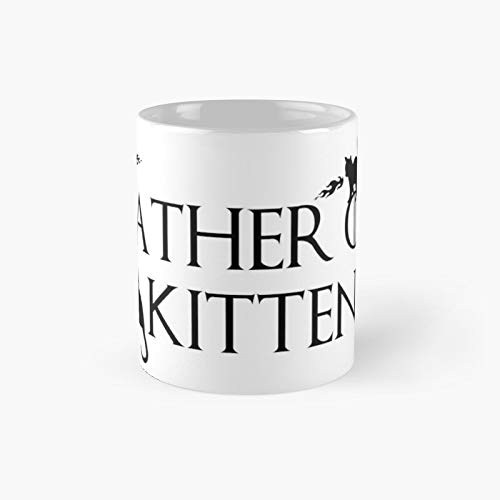 Taza clásica negra con el padre de los gatitos, el mejor regalo, tazas de café divertidas, 11 onzas