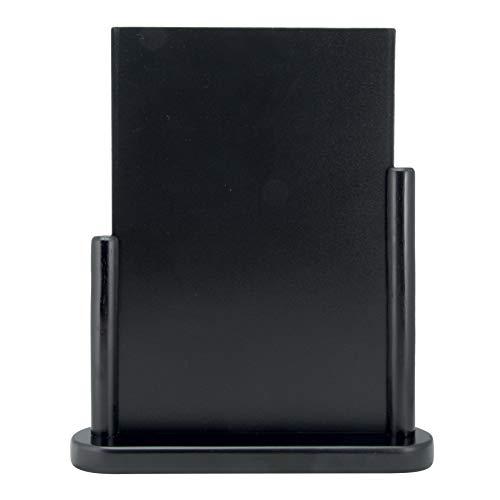 Securit Tischkreidetafel Elegant, Tischaufsteller mit beidseitiger Tafeloberfläche mit Holzsockel in U-Form, mit einem weißen Kreidestift, ca. 32 x 27 cm groß