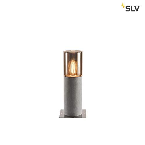 SLV Standleuchte Lisenne | Dimmbare LED Standleuchte, Outdoor-Standlampe für Terasse, Garten, Weg | Moderne rustikale Stand-Lampe in exklusivem Design (Rauchglas-Optik, Basalt-Stein, E27, EEK E-A++)