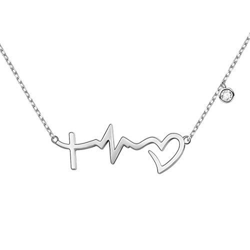 S925 Sterling Silver Faith Hope Love Cross Lifeline Heart Pendant Necklace Christian Jewelry Gifts for Women Teen Girls,18' + 2'