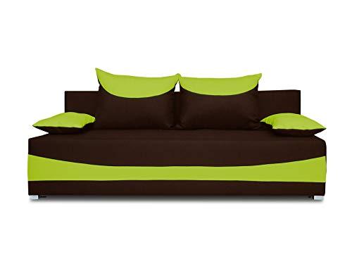 Schlafsofa NATI - Klappsofa mit Bettkasten, Sofa mit Schlaffunktion, Bettsofa, Schlafcouch, Couch, Couchgarnitur, Sofagarnitur, Kinderzimmer (Braun + Grün (Neo 06 + Neo 17))