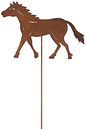 Metall Stecker Pferd Rost Stecken Beetstecker Tierfigur Rasenstecker Gartenstecker Blumenstecker Blumenbeet Frühlingsdeko Gras Garten Deko Pony Stute Gartendekoration Sommer braun (Pferd H=60cm)
