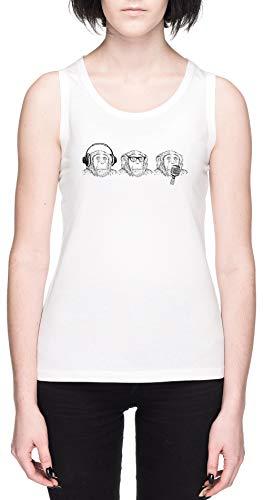 Oír Mal Ver Mal Hablar Mal Blanca Mujer Camiseta De Tirantes Tamaño...