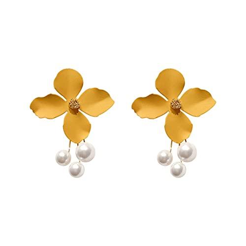 RKL 925 Pendientes Cuelgantes De Plata For Mujeres 2021, Moda Creativa Flor Amarilla Pendientes De Gota De Perlas, Pendientes For Niñas Fiesta De Cumpleaños
