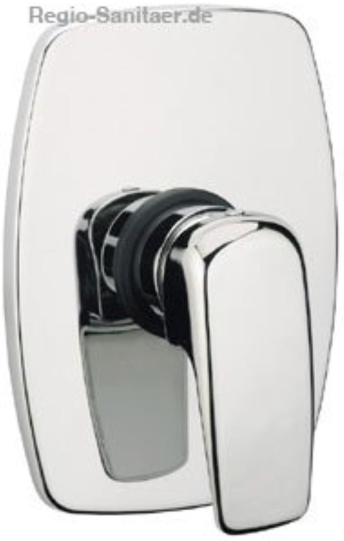 Elegante quadratisch-geschwungene Unterputzarmatur Einhhebelmischer hochglanz verchromt für Dusche Waschtisch oder Badewanne, mit keramischer Kartusche, Serie KIMONO