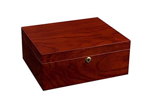 ADORINI Humidor Trieste - Deluxe, fino a 75 sigari, legno di palissandro e cedro spagnolo, con serratura e igrometro a capello di precisione -MARRONE.