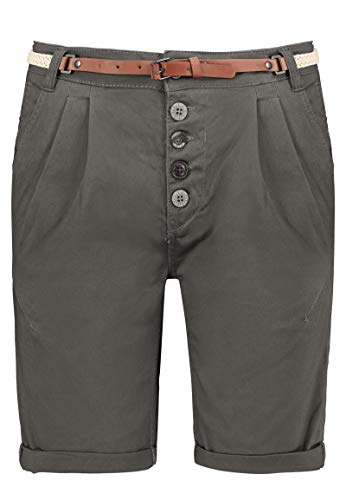 Sublevel Damen Chino Bermuda-Shorts mit Flecht-Gürtel Dark-Grey L