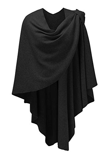 Womens Large Shawl Wraps Poncho Sweater Cross Front Topper Black