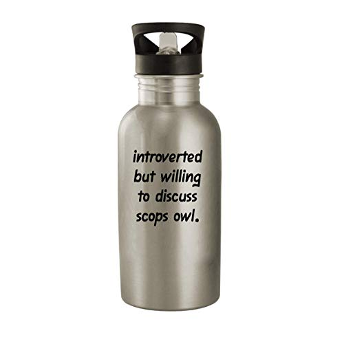Introverted But Willing To Discuss Scops Owl - 20oz Stainless Steel Water Bottle, Silver