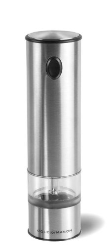 COLE & MASON Battersea Electric Salt and Pepper Grinder with LED Light - Electronic, Battery Operated Mill, Stainless Steel