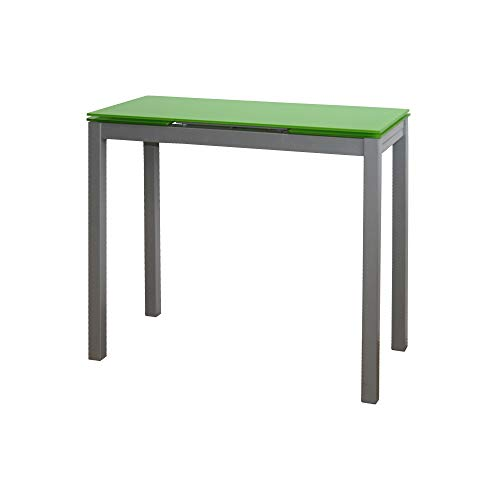MOMMA HOME Mesa de Cocina Extensible - Modelo Novi - Color Verde/Plata - Material Cristal Templado/Metal - Medidas 85/135 x 40 x 76 cm