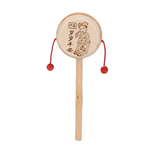 JohnJohnsen Bebé Niños Niño Madera Sonajero Tambor Instrumento Niño Juguete Musical Estilos Chinos para Relajarse Liberar estrés Promover la circulación de la Sangre (Madera)