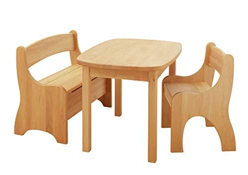 BioKinder 24789 Spar-Set Levin Kindersitzgruppe Sitzgruppe für Kinder mit Tisch, Bank und Stuhl aus Massivholz Erle