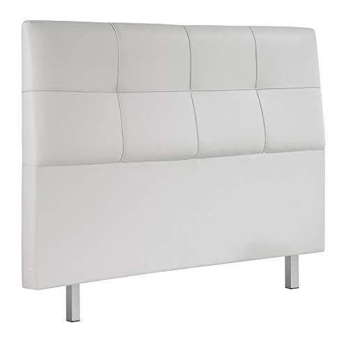 Adec - Chester, Cabecero Acolchado de Cama de Dormitorio, Cabezal Acabado en símil Piel Color Blanco, Medidas: 160 cm (Largo) x 114 cm (Alto) x 11 cm (Fondo)