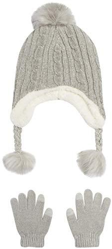 'DKNY Girls Winter Hat and Glove Set - Sherpa Fur Lined Earflap Pom Pom Beanie, Heather Grey'
