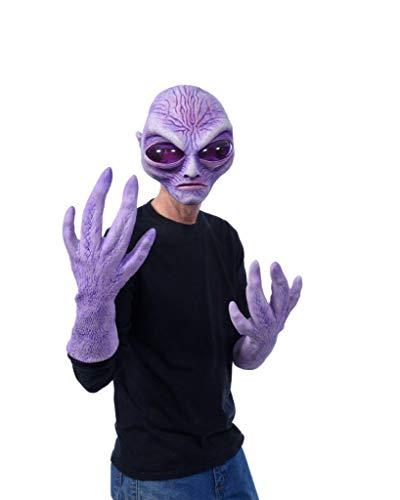 Pluto Alien Costume Kit, Latex Alien Mask with Extended Alien Latex Hands Purple
