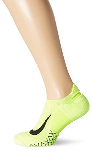 Nike Elite Cushion No-Show Tab Running Socks Volt/Black No Show Socks Shoes
