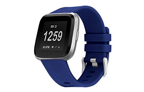 Snaked cat Reloj de repuesto para mujer y hombre, de goma de silicona, para reloj Fitbit Versa (azul,