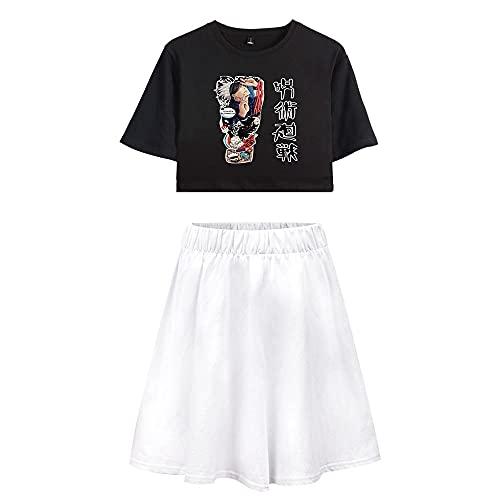 Yuhuaouzhou Mujeres Anime Jujutsu Kaisen Crop Tops + Faldas Sexy Set Satoru Gojo Impreso en 3D Ombligo Expuesto Camiseta Lumbar del Verano De 2 Unidades