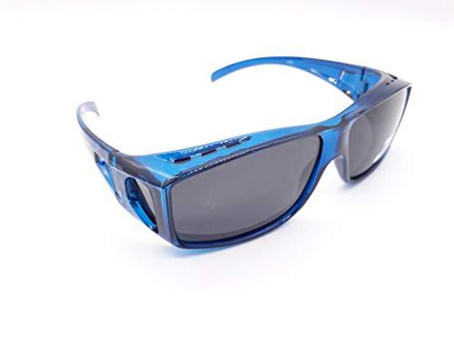 Matecs polarisierte Sonnen-Überziehbrille Blau für Brillenträger UV 400 CAT 3 für SIE & IHN