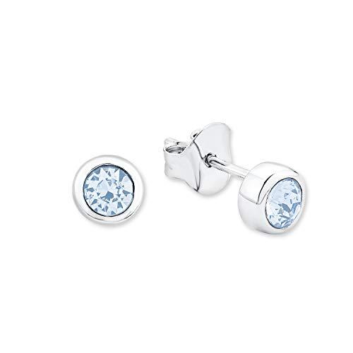 amor Ohrstecker für Damen, Sterling Silber 925, Kristallglas