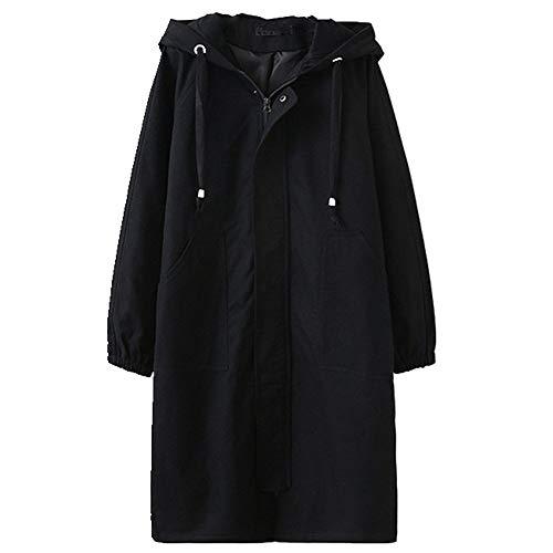 Más el tamaño femenino WindbreakerSpring con capucha larga gabardina abrigo femenino suelto de gran tamaño de las mujeres básicas Abrigos ropa