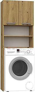 Hucoco COMO | Meuble pour Machine à Laver | 64x183x30cm | Rangement Espace buanderie Lave Linge Salle de Bains | Style Mod...